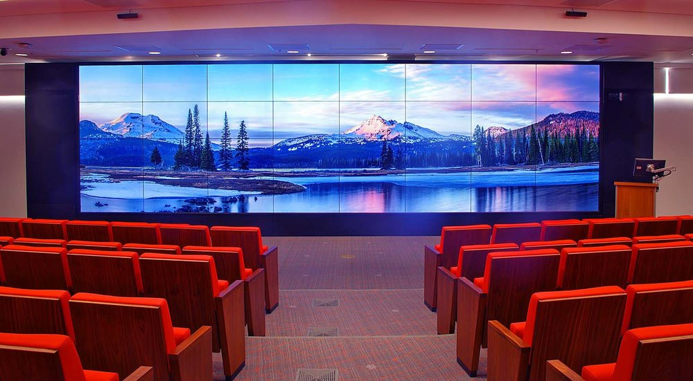 Eight by Four Video Wall, Projection Systems, Ceiling-Mount Powered Screens, Integrated Sound and Control Systems