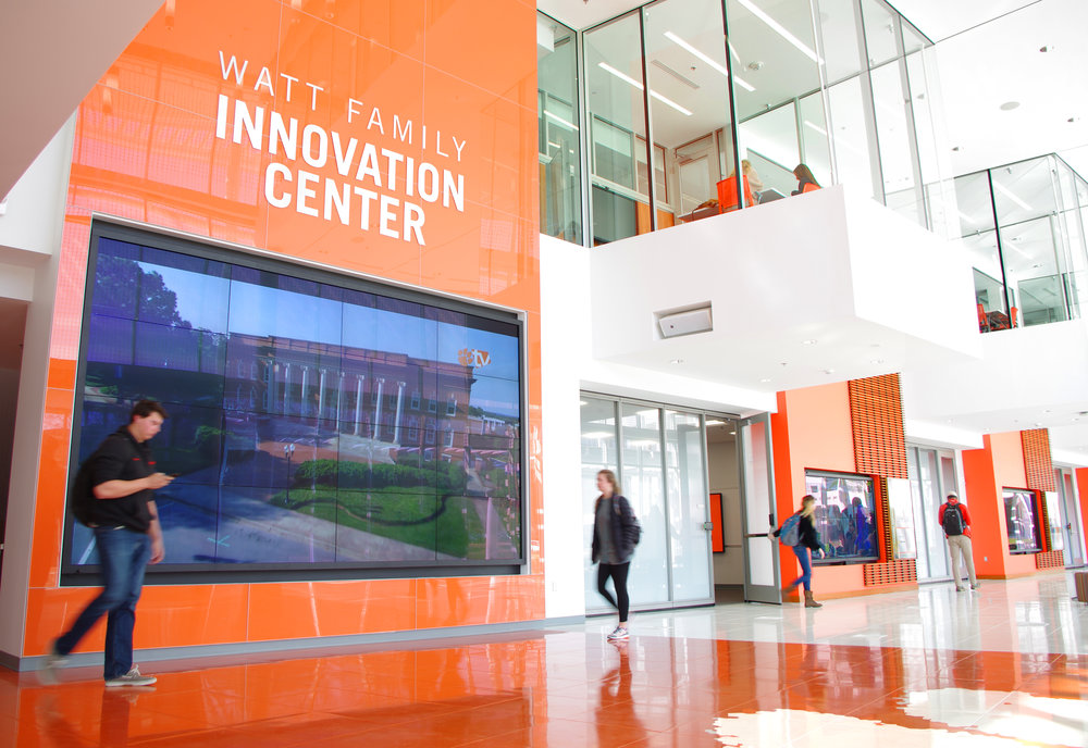 This video wall is in the lobby of the Watt Family Innovation Center and displays campus information at Clemson University.