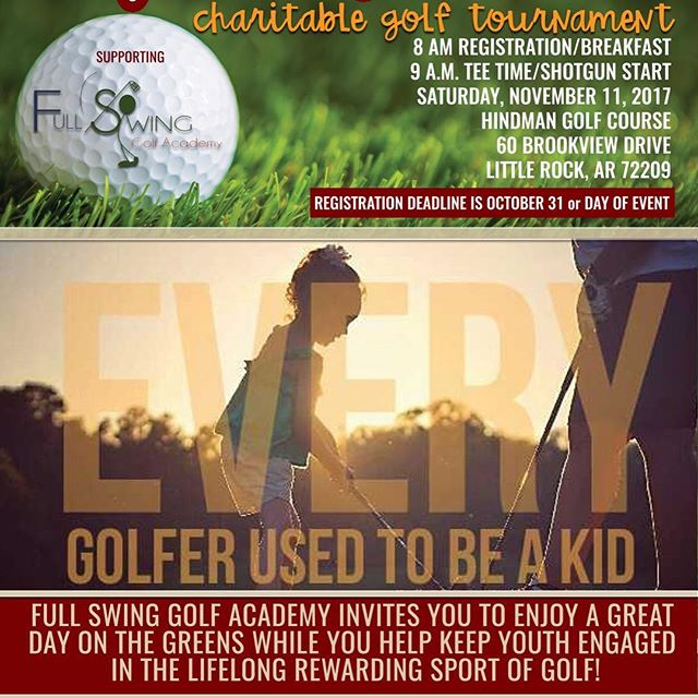"""No matter your handicap, if you are golfer, you must get your team together and take to the greens at the inaugural """"Every Golfer Used to Be Kid"""" Charitable Tournament supporting Full Swing Golf Academy, a nonprofit organization. The tournament will be held on Friday, November 10, on the beautiful grounds of Hindman Golf Course in Little Rock. You are promised a great day of fun, competition, prizes and recognition as you help introduce under-represented youth to the game of golf and its social, academic and mental benefits. There is NO fee for these young golfers to take part. This makes your support extra meaningful! Learn more about this awesome organization at fullswinggolfacademy.org. Download and/or share a flyer and most importantly, sign up. A variety of sponsorships and volunteer ops are also available!  #golf #younggolfers #golftournament  #littlerock  #littlerockgolf  #hindmangolfcourse  #youthgolf  #golfers #arkansas  #fullswinggolfacademy #EveryGolferUsedToBeAKid"""