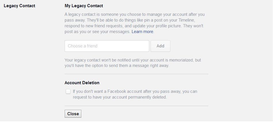 facebook memorialization