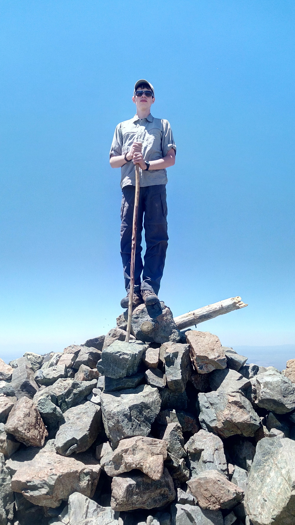 Seeker Ian on the summit of Wheeler Peak.