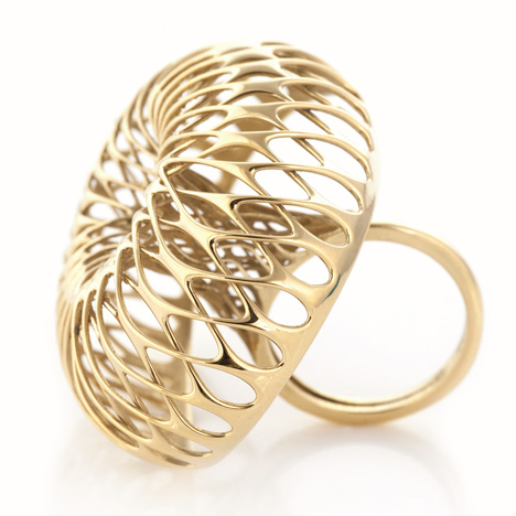 3D-printed gold ring by Lionel T Dean, manufactured by Cooksongold.
