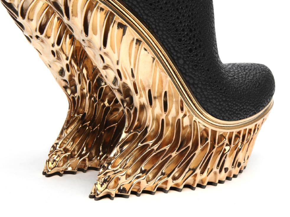 Gold-plated heels by Francis Bitonti for United Nude.