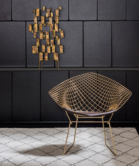 Bertoia diamond chair, manufactured by Knoll.