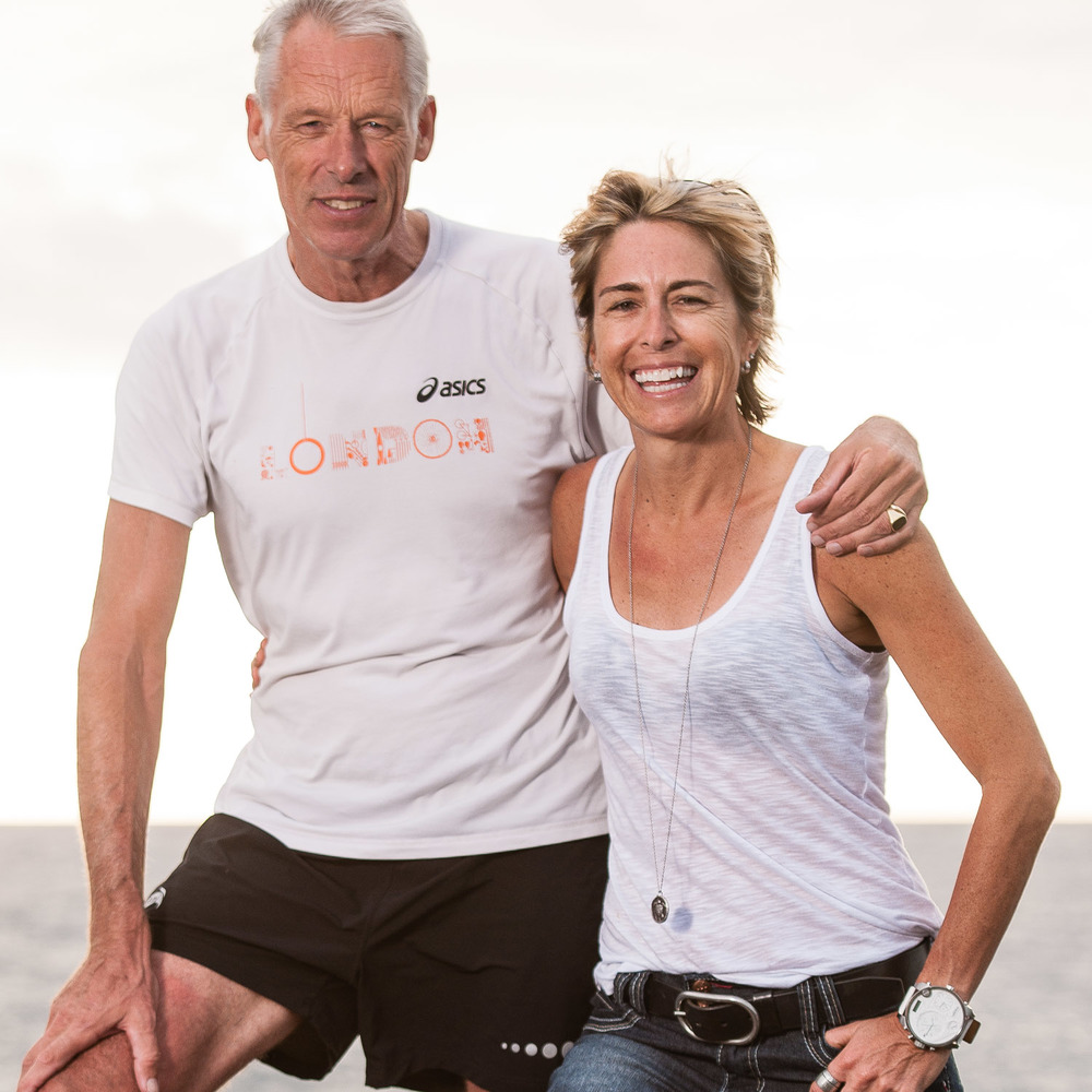 Dr. John Hellemans (Left) with Siri Lindley (right). Most professional triathletes would call this the dream team.