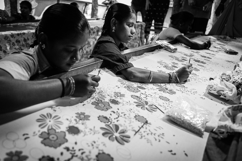 Small businesses empower the citizenry and help families in the community. This labor-intensive work will produce stunning sari's and tablecloths and other such material.