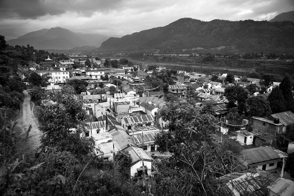 The settlement is far outside the major town of Pokhara, west of Kathmandu Nepal and in the foothills to the Himalaya.