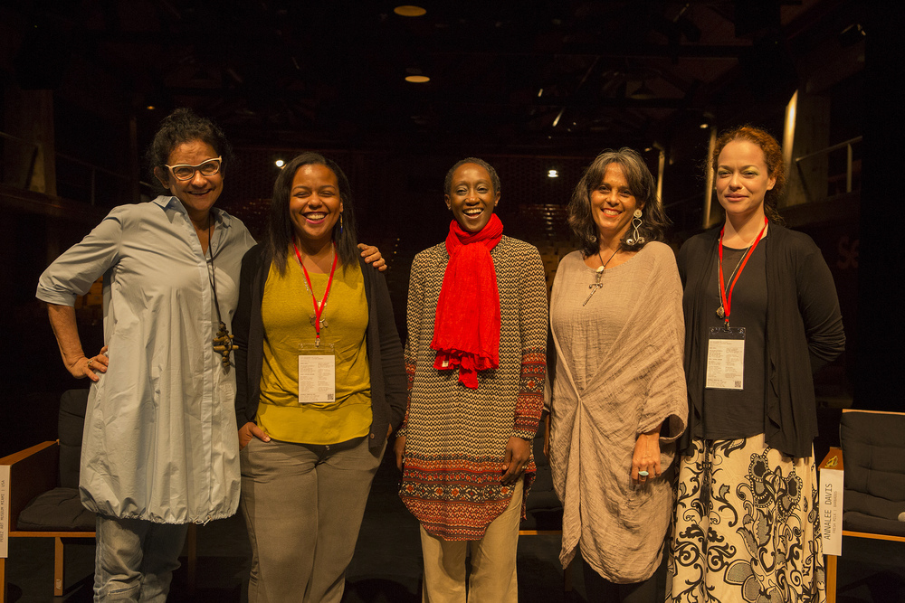 L to R: Solange Farkas (Videobrasil), María Elena (PAMM),   N'Gone Fall (GawLab), Annalee Davis (Fresh Milk) and   Holly Bynoe (ARC Inc.)