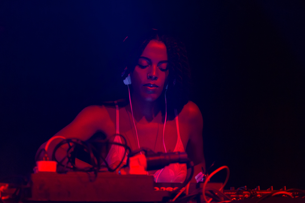 Self-described ' cyborg, cunt, priestess, witch, Nuwaubian princess ' and DJ, Juliana Huxtable did a three hour set for the Episode 8 club night.   Images courtesy of Alex Woodward for Arika at Episode 8: Refuse Powers' Grasp at Tramway, Glasgow 2016