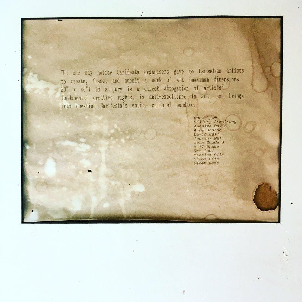 Letter to the CARIFESTA IV (1981) committee, framed and hanging in the Fresh Milk Reading Room.