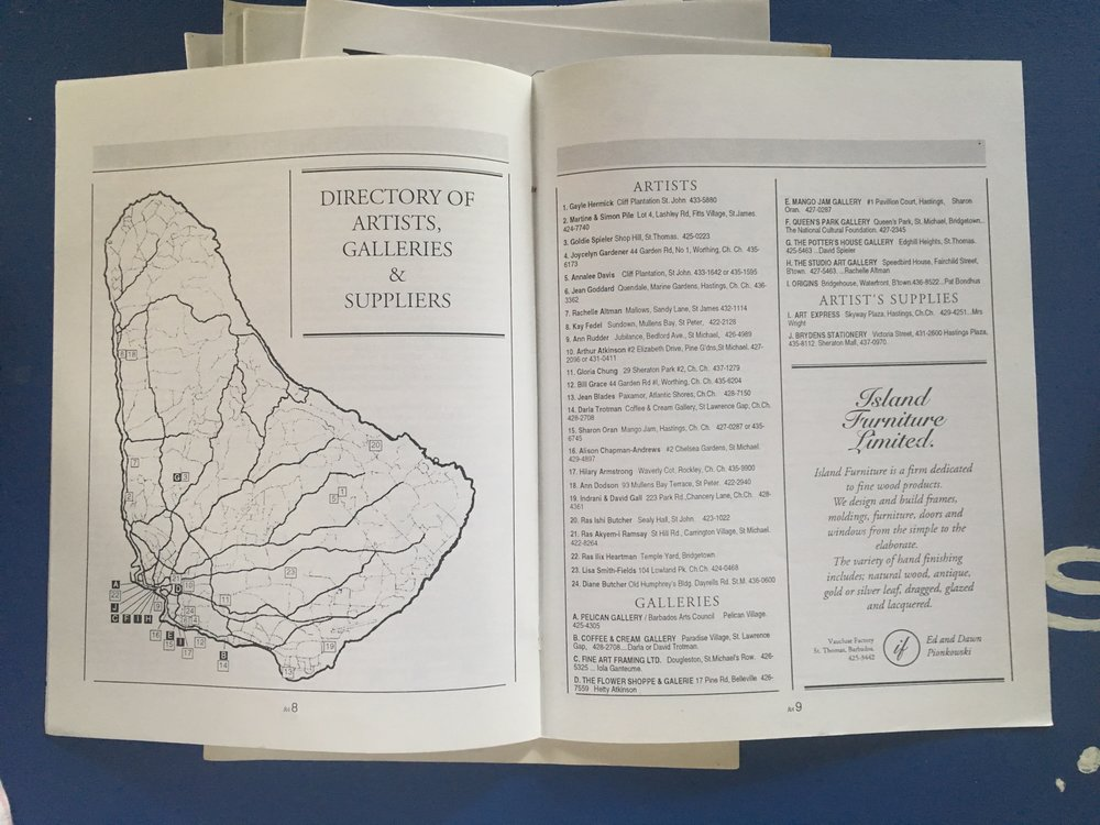 A directory of Barbados galleries and art spaces in Issue 2.