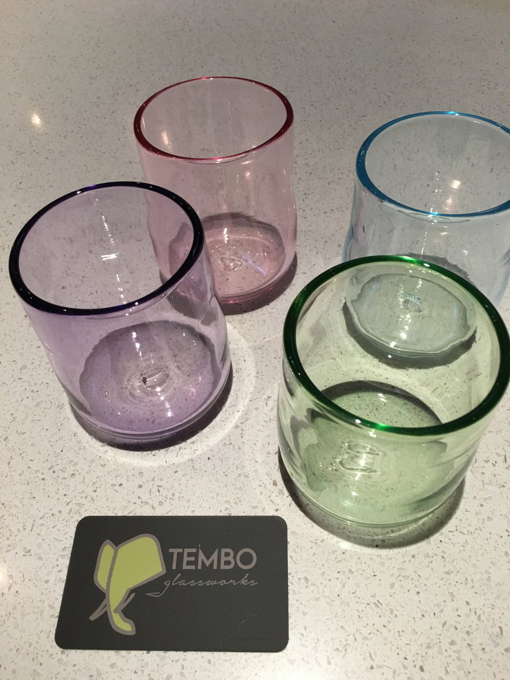 Fun-sized tumblers for margaritas, mojitos and the like.   We use very clean, transparent glass powders to tint these glasses.  Some of our favorite colors are Gold Ruby, Bristol Green, Brilliant Copper Blue, Salmon, Brilliant Yellow and Hyacinth Violet
