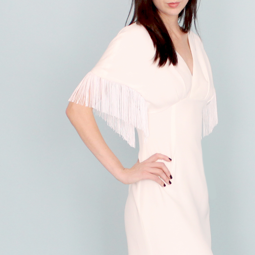 "Dahl ""Songbird"" luxe silk dress with fringe detail. Photo courtesy of www.dahlnyc.com"