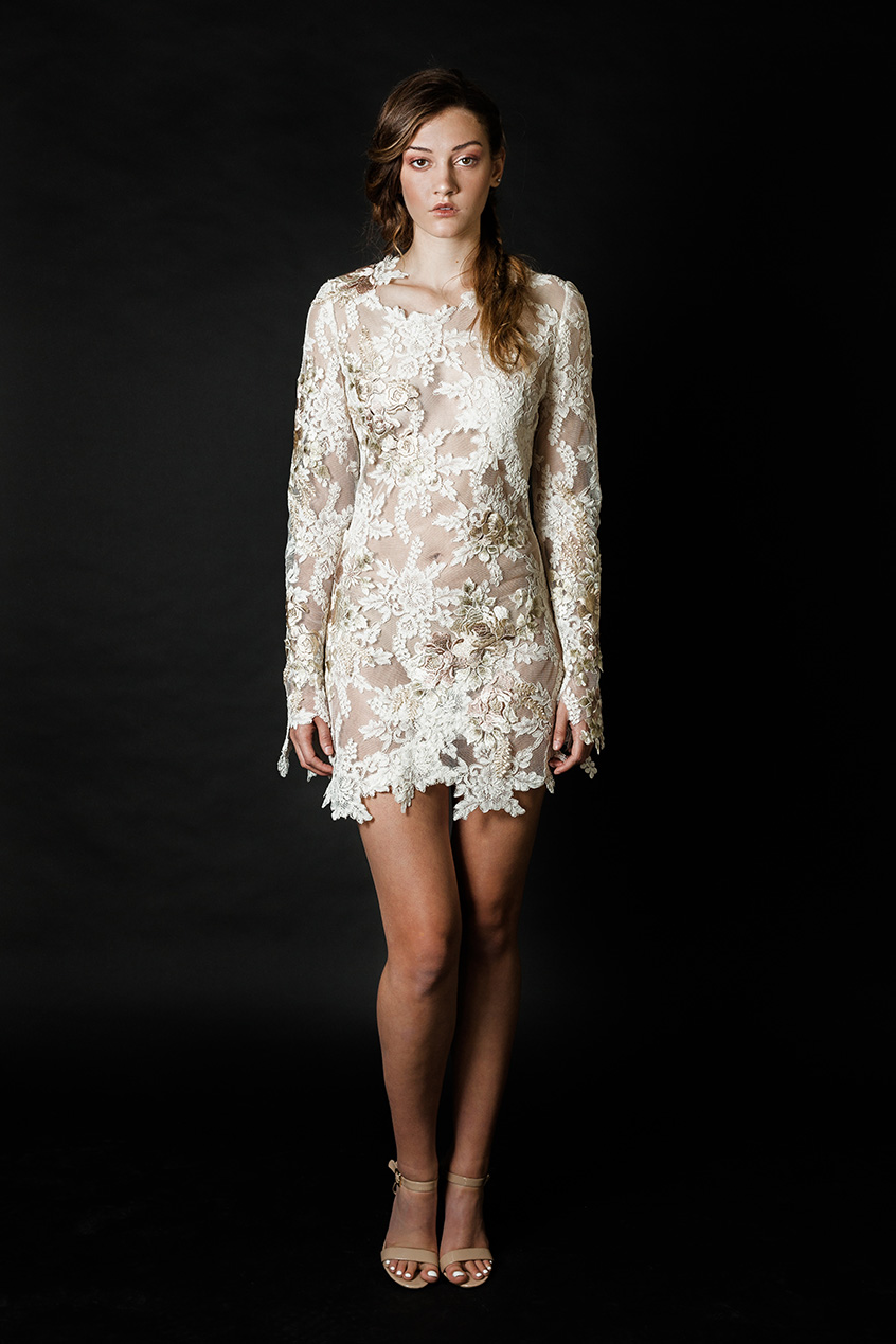 "Sheer lace form-fitting ""Sugaree"" mini dress from Claire La Faye. Photo courtesy of www.clairelafaye.com"