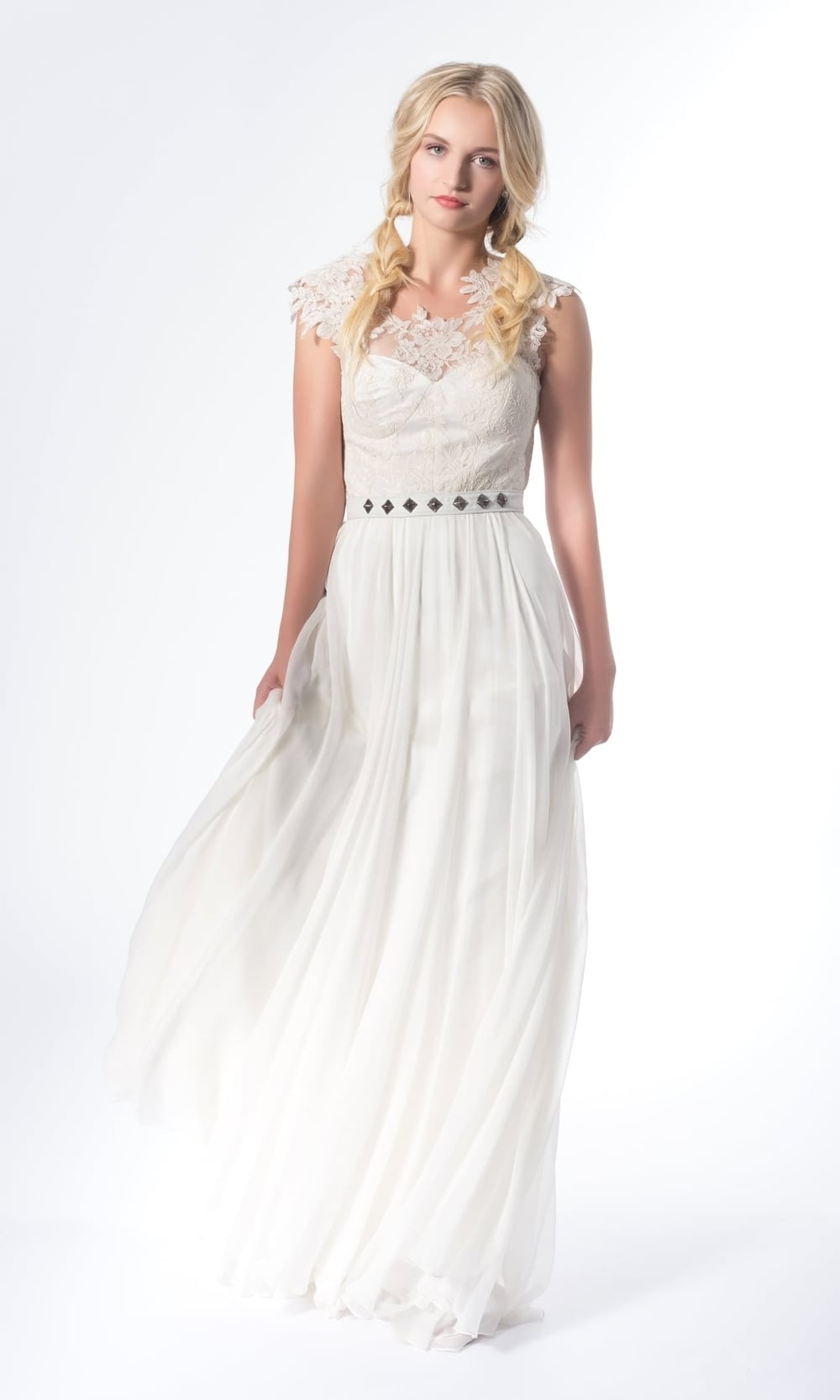 Shown with genuine leather studded belt, available at Alt. Brides