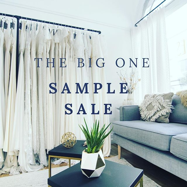 SAMPLE SALE ALERT: June 16-17 // It's time to clear our racks — and that means it's YOUR chance to score! Deep discounts (up to 40-90% off) on some of our most popular styles, with most samples in excellent condition! No appointment necessary—first come, first served from 11am to 6pm. Because we only have one dressing room, each bride will be limited to a 30-minute time slot. This sample sale is for serious brides who are short on time and who are looking for a steal of a deal!