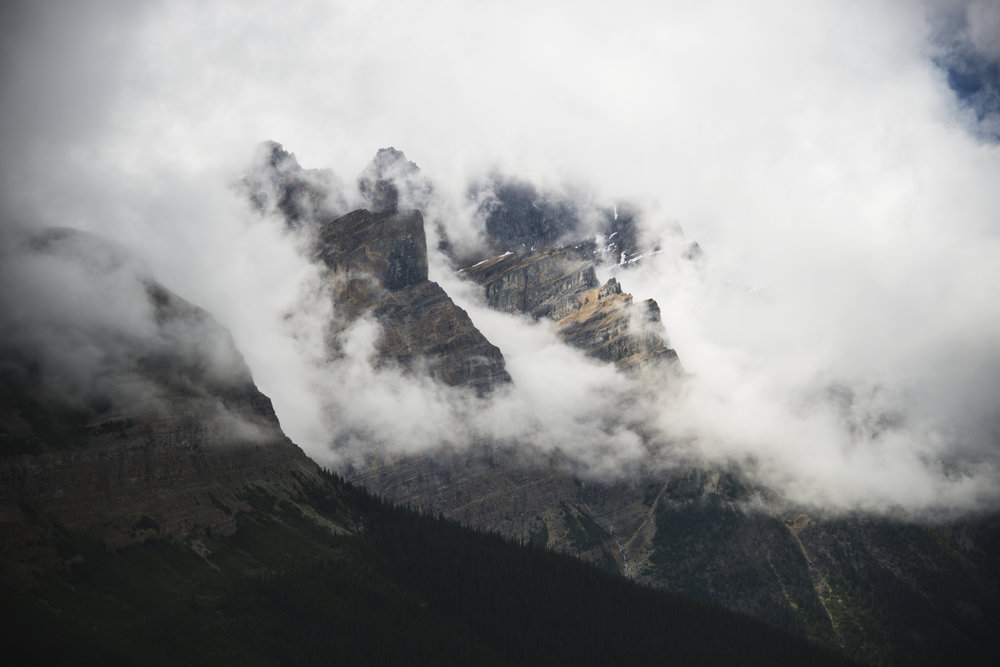 Fog Rolling through the Mountains on Peyto Lake in Alberta.jpg