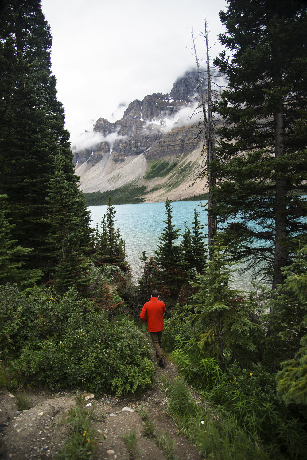 Dad Walking to Bow Lake in Alberta.jpg