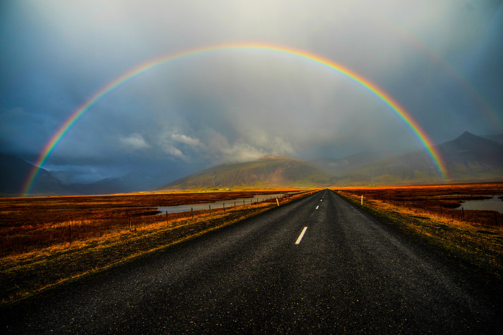 Rainbow Over Road with Nice Light in Iceland.jpg