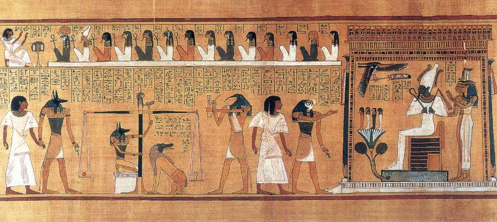 the last judgment in which a person's soul is weighed about the feather of Ma'at only after being examined by the 43 assessors in the negative confession. Horus escorts the person to the balance, Amet, the eater awaits his dinner should the person's fail to measure up, and Thoth, the royal scribe, notes the verdict. Osiris, lord of the underworld, oversees the process as he is attended by his wife and sisters.