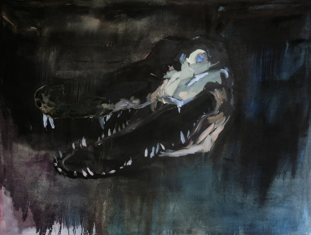 """Hey baby,"" oil and charcoal on canvas, 5' x 3', 2016"