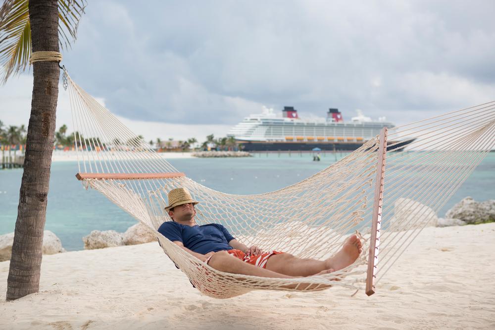 Dad in a hammock at Castaway Cay