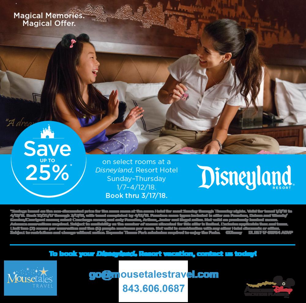 25% off Disneyland Hotel Rooms