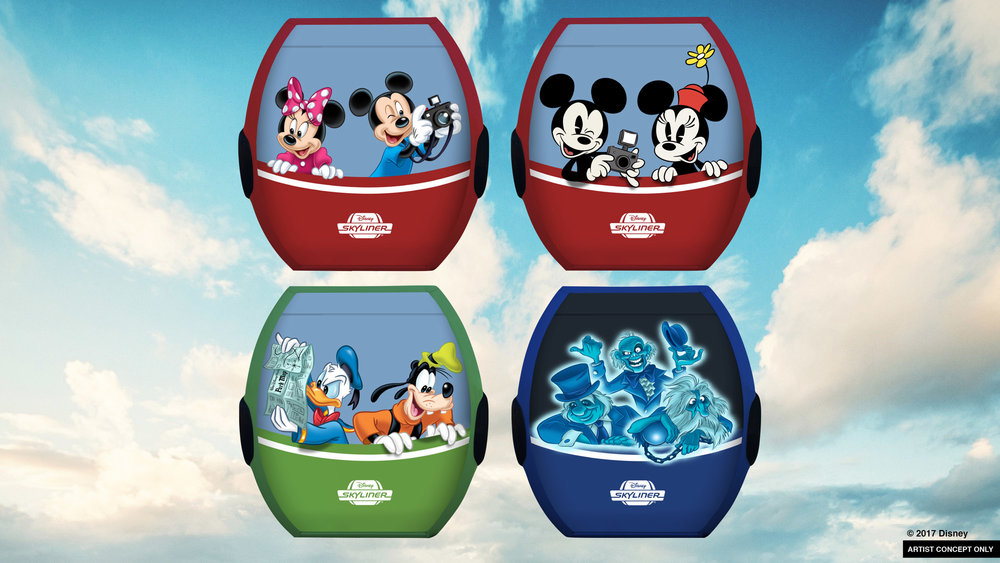 Disney Skyliner gondolas with Mickey Mouse, Minnie Mouse, Donald Duck, Goofy, and the Hitchhiking Ghosts from The Haunted Mansion