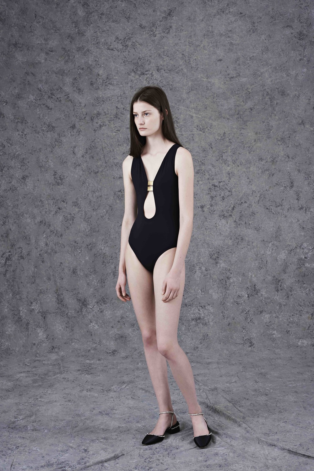 Peau Douce one piece swimsuit with gold band  ERES,  satin slingback pumps with Swarovski crystals  PRADA.