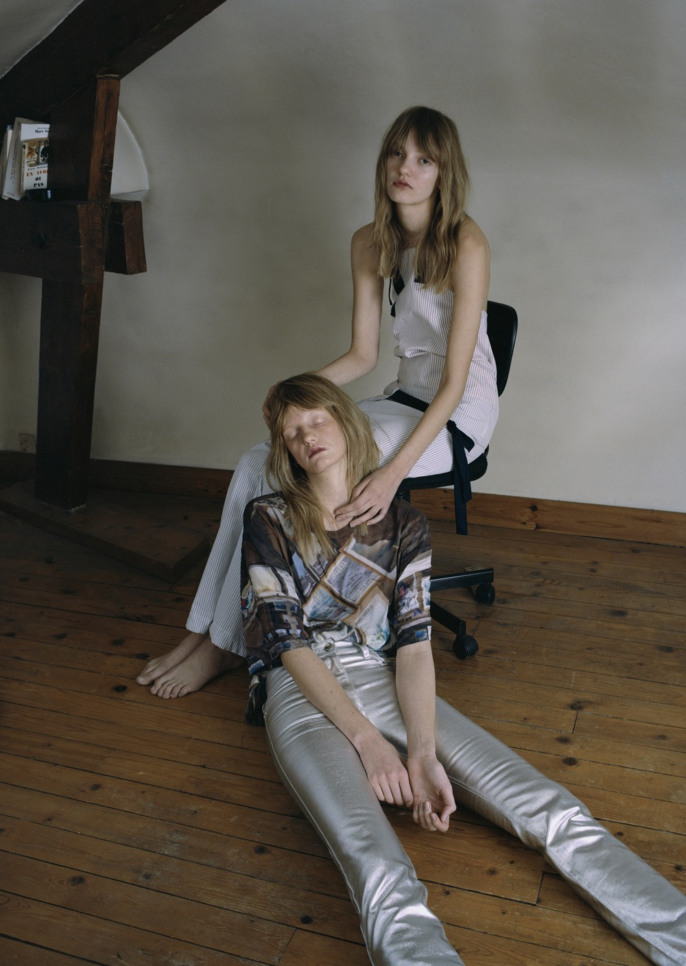Striped blouse and trousers  JACQUEMUS,  frame print tee  BLESS,  silver denim trousers  PACO RABANNE.