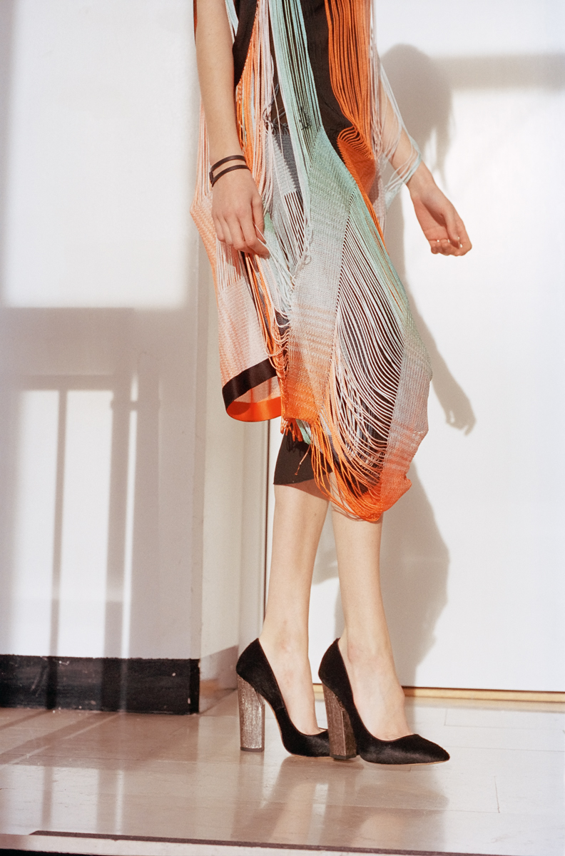 Asymmetrical draped panel dress with dégradé fringe bands  MISSONI , leather and calf hair pointed toe pumps with high block heel  CASADEI .