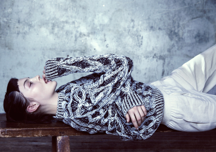 Cable knit monochrome jumper  JOSEPH , off white ruched waist pants  HERMÈS , sterling silver earrings  SOPHIE BILLE BRAHE .