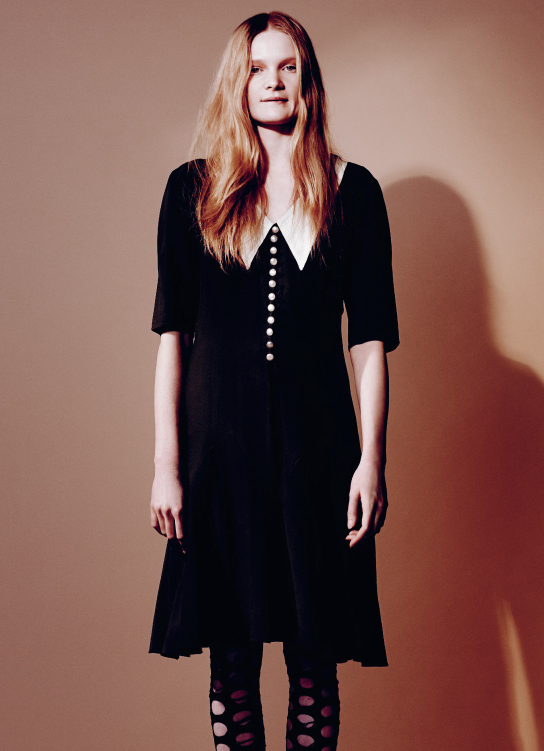Peter pan collar black crepe de chine dress Vintage and black tights  BALENCIAGA  pre-fall 2011, stylist's own.