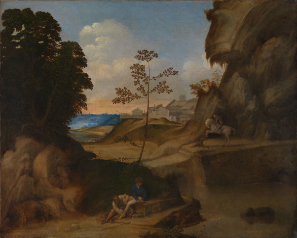 Giorgione, Il Tramonto, c.1502–5.   Oil on canvas. 73.3 x 91.4 cm. The National Gallery, London, bought 1961, inv. NG 6307. Photo © The National Gallery, London