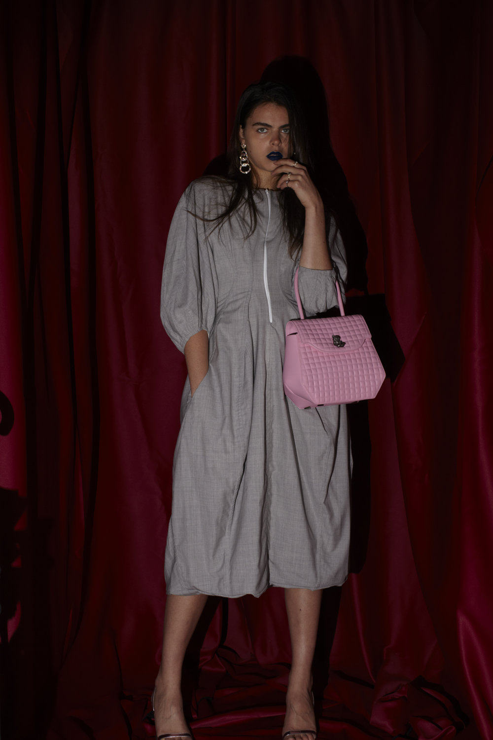Bag PRAMMA Nr.1b, cotton dress Céline, sandals Saint Laurent, earrings stylist own.