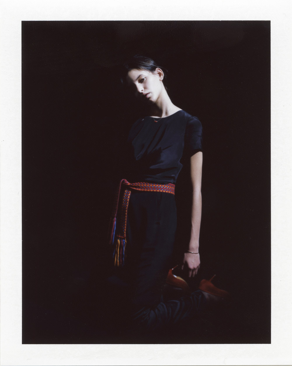 Silk dress. Red calf hair shoes RENÈ CAOVILLA,woven belt FRANCO JACASSI VINTAGE DELIRIUM,9ct golden bangle and coral and golden necklace ATELIER VM