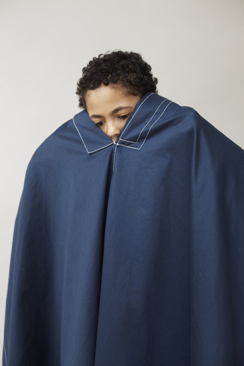 White stitching blue cotton cape ACNE.