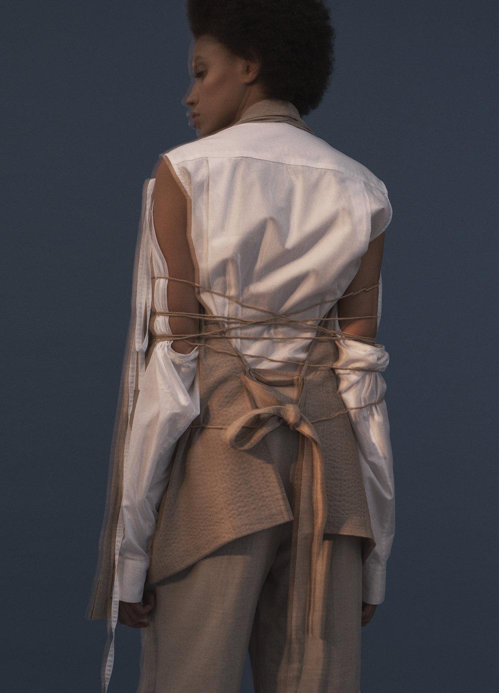 Linen blazer and white laces popeline shirt NEHERA.