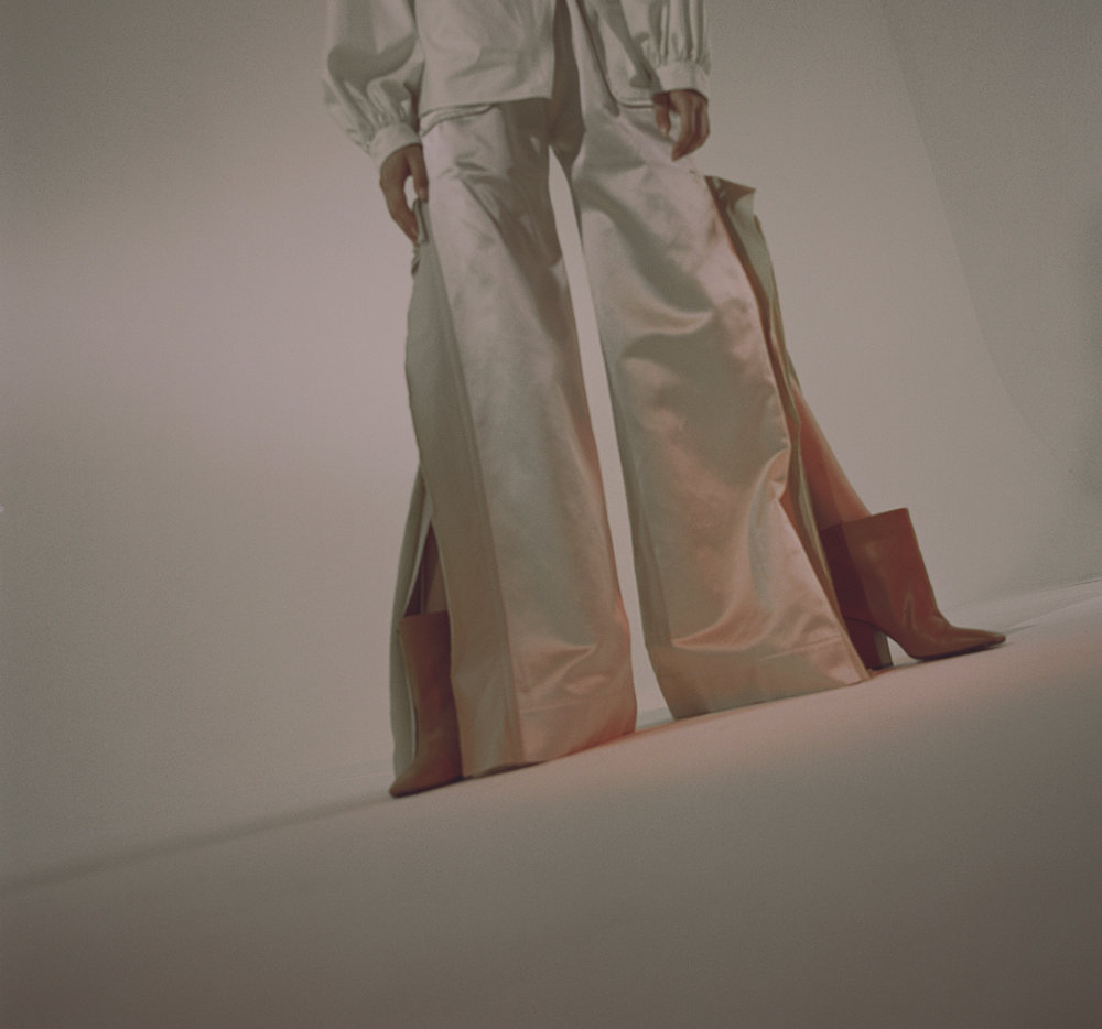 talco silk shirt  ARCHIVIO  cream silk split tie detail trousers MARCO GRISOLIA orange ankle boots  COMEFORBREAKFAST