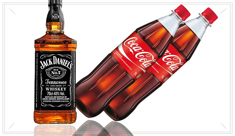 NO113 - Highball Pack - 1 x Jack Daniels 0,7l Flasche2 x Coca Cola 1,0l Flaschen(2 x inkl. 0,15 Pfand)34,95