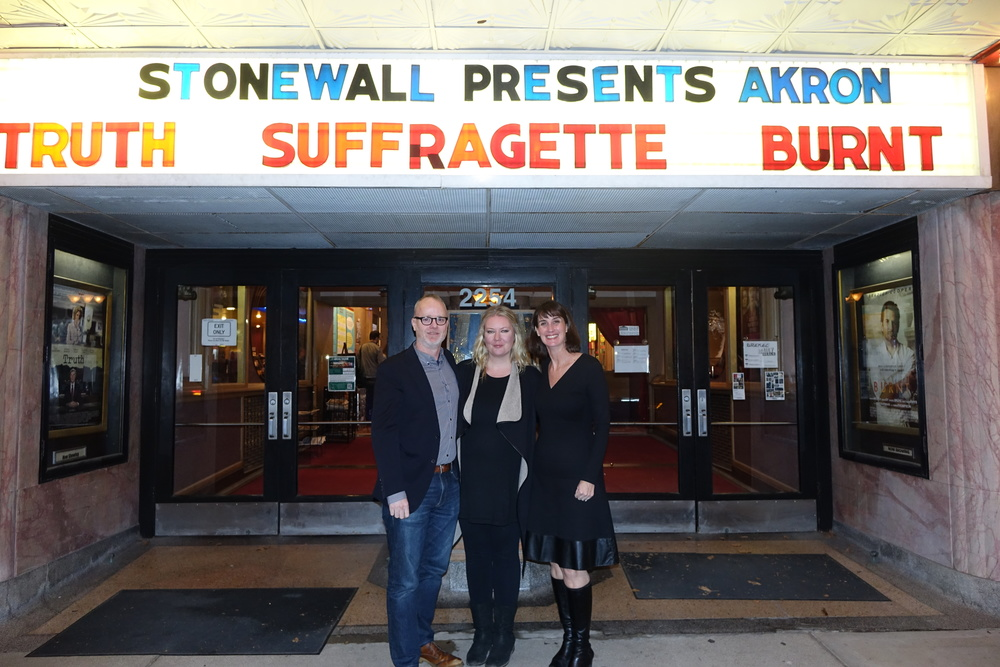 Brian, Sasha and Ellen, with AKRON's name in lights!
