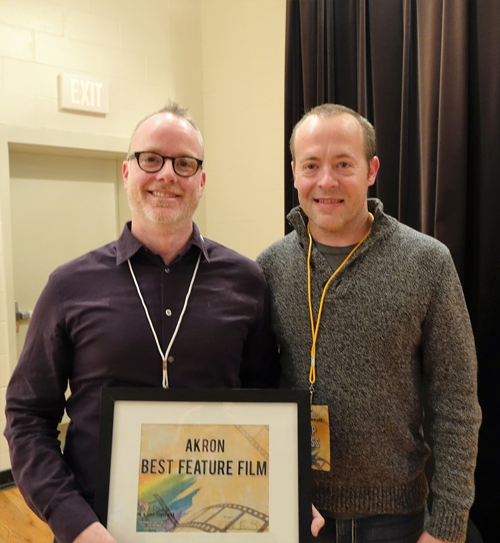 Brian O'Donnell and Chuck Beatty with AKRON's Best Feature Film Award
