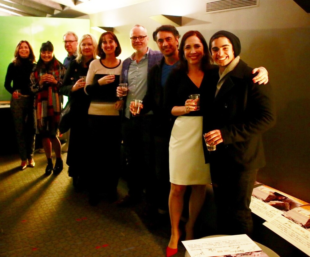 A toast with the cast and creative team - Amy da Luz, Cailan Rose, Tim Kollar, Sasha King, Ellen Kollar, Brian O'Donnell, Joseph Melendez, Andrea Burns and Matthew Frias