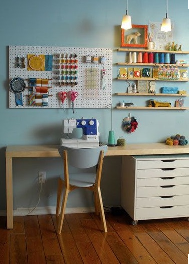 Great use of space for storage and easy reach of materials.