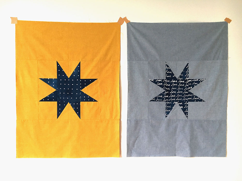 Working on these simple lone star designs sewn in a combination of my hand dyed indigos and commercial chambrays.