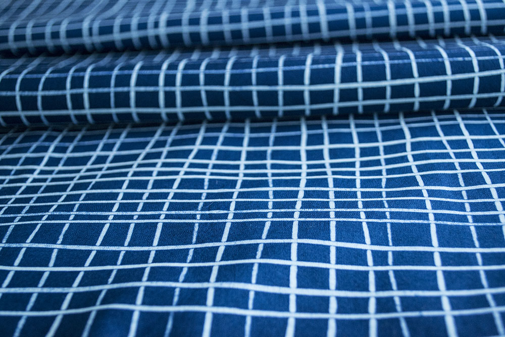 Skinny Stripe Grids in  indigo and white .