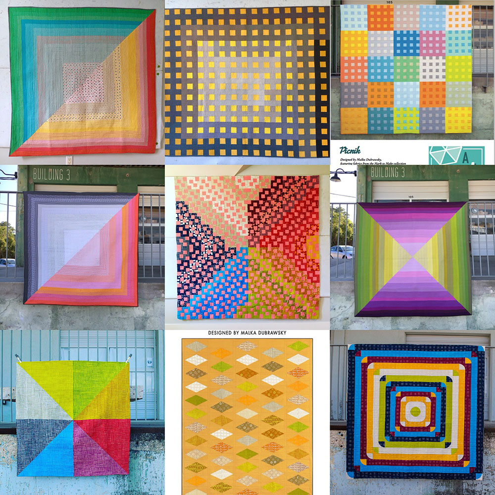 From top to bottom, left to right: Half-Square, the Sequel, Gingham Ombre, Picnik, Half-Square, Medusa, Four Triangle Ombre, Mosaic of Eight, Simple Jim, and Flying Dice