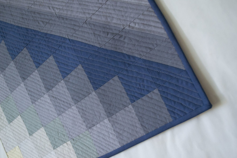 Detail of Arrow Mini Quilt in Indigo