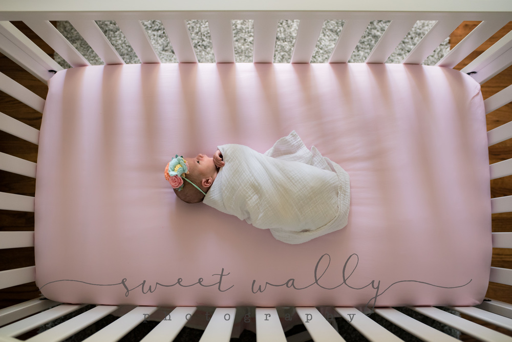 Baby Girl in her Crib | Lifestyle Newborn Session | Sweet Wally Photography