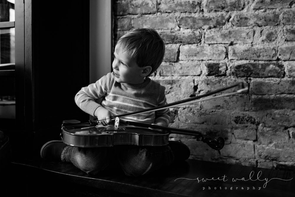 I think he's picked his instrument | Nashville Newborn Photographer | Sweet Wally Photography